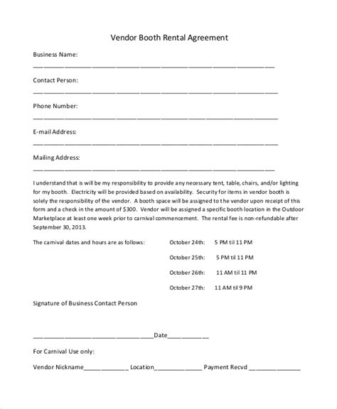 18 Booth Rental Agreement Templates Free Downloadable Sles Exles And Formats Free Vendor Agreement Template