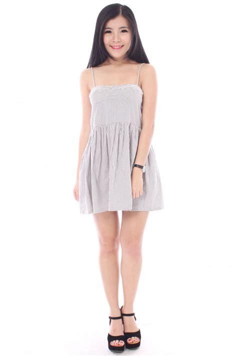 Black White Striped Flounced Half Sleeved Cotton Dress striped bustier dress the label junkie