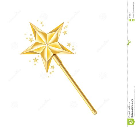 The Golden Wand magic golden wand isolated on white stock vector image