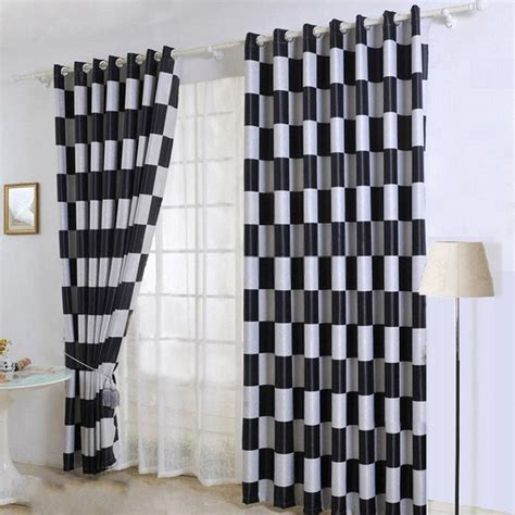 Elegant Black And Grey Plaid Curtains For Living Room And