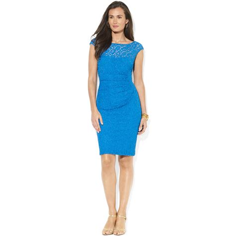 Rl Dress Glowing Blue by ralph capsleeve lace illusion dress in blue lyst