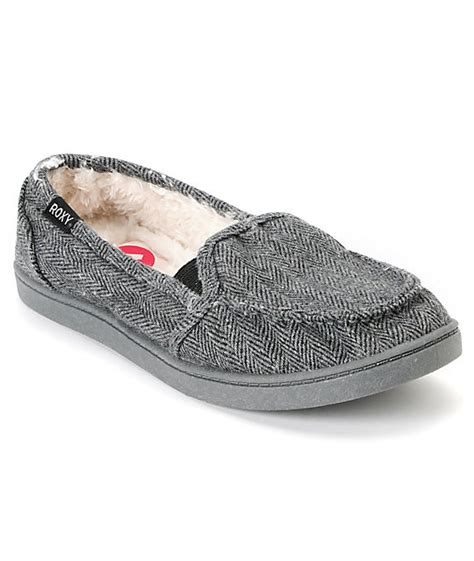 stash house shoes roxy lido black grey herringbone wool slippers zumiez