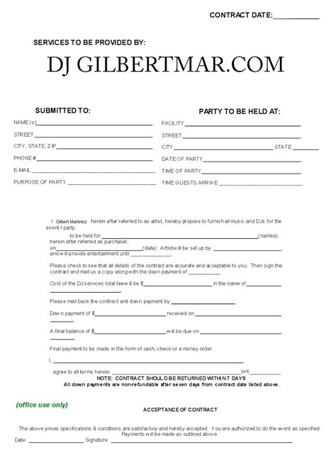 dj service contract template sle dj contract agreement free printable documents