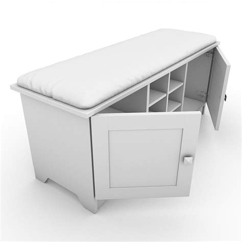 bench with cushion and storage storage bench with cushion 03 3d model max obj 3ds lwo