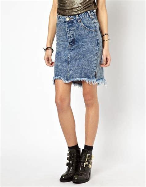 one teaspoon acid wash high waist denim skirt in