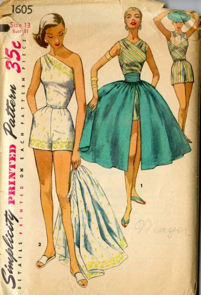vintage patterns 1950s a 1849940940 1950s ladies playsuit and skirt pattern sense sensibility patterns