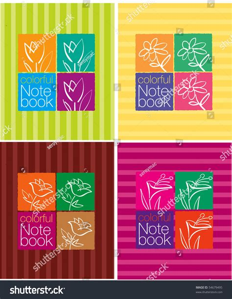 notebook cover design vector free download colorful notebook cover design stock vector 54679495