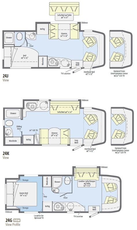 Winnebago Class C Motorhomes Floor Plans by 2011 Winnebago View Class C Motorhome Floorplans