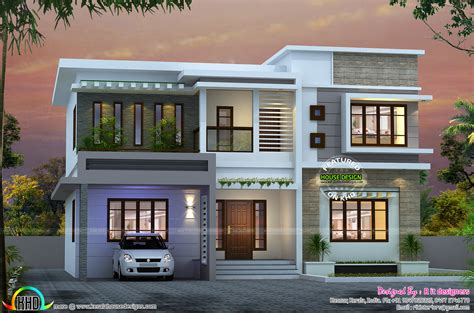 3 bedroom modern flat roof house layout kerala home design attractive 4 bedroom flat roof house kerala home design and floor plans