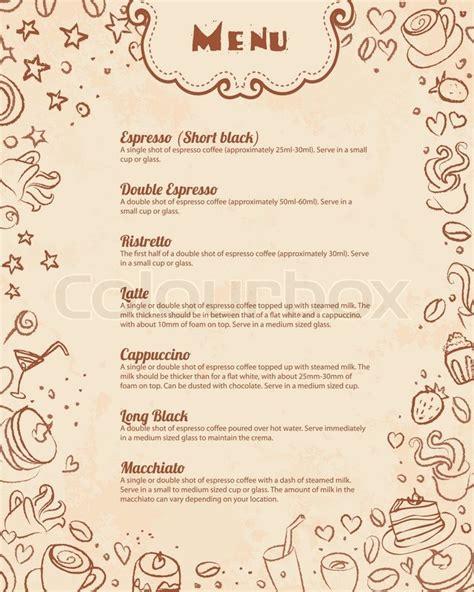 coffee menu wallpaper restaurant menu page template with coffee scribble