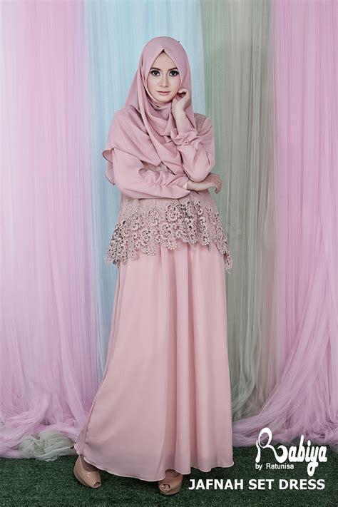 118595 Syari Pesta Calesta Pink Limited jafnah set dress pink baju muslim gamis modern