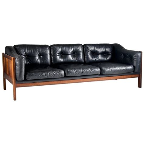 Futura Furniture Leather Sofa Rosewood And Leather Sofa Quot Monte Carlo Quot 1965 For Sale At
