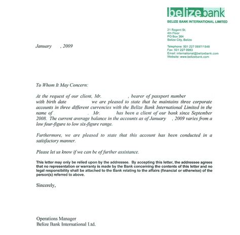 Financial Reference Letter Bank Of America Personal Bank Reference Letter Sle By Belize Bank