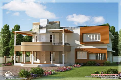 home design floor plan and elevation of unique trendy house kerala