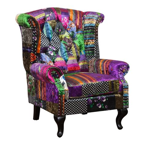 Patchwork Wingback Chair - furniture occasional leather chairs occasional chairs
