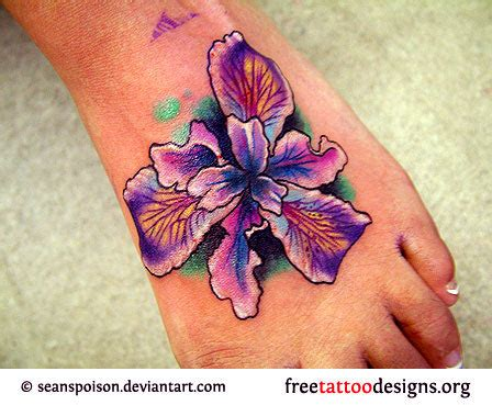purple flower tattoo designs foot tattoos