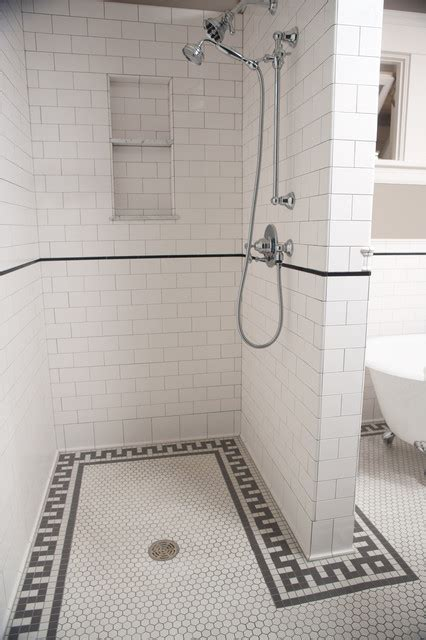 subway tile bathroom floor ideas subway tile shower traditional bathroom minneapolis