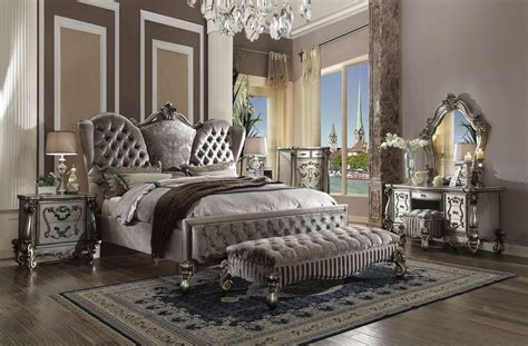versailles bedroom set versailles bed upholstered antique platinum finish acme