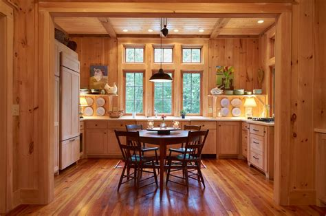 Knotty Pine Walls Kitchen Farmhouse with Medium Wood