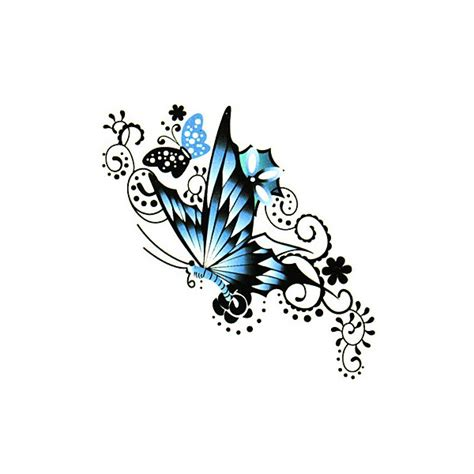 blue butterfly tattoo sticker