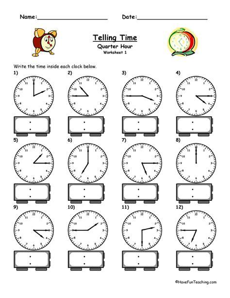 clock worksheets quarter hour telling time analog digital quarter hour