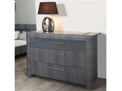 commode britany 3 tiroirs mdf gris commode pas cher