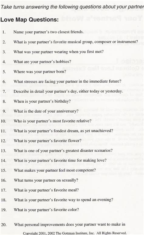 printable relationship quiz gottman therapeutic clinical stuff pinterest