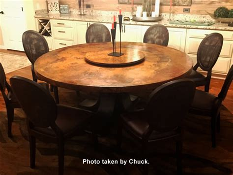 custom designed copper dining table for sale at 1stdibs large round copper top dining table oak wood pedestal