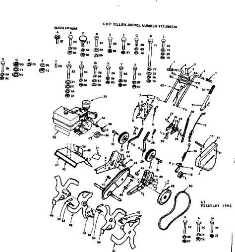 craftsman tiller parts diagram craftsman 6 h p tiller parts model 917299370 sears