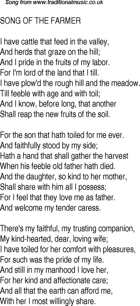 Old Time Song Lyrics for 14 Song Of The Farmer