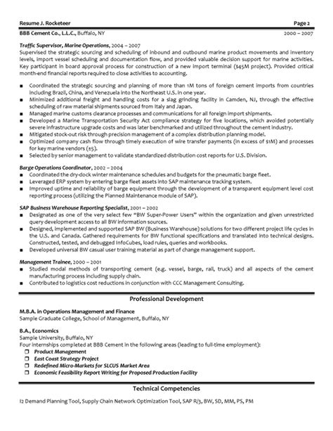resume sles for supply chain management supply chain resume