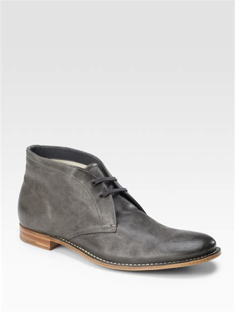 prada boots prada leather chukka boots in gray for lyst