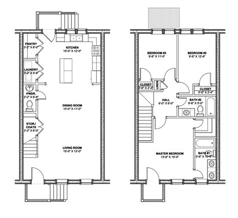 row house floor plan rowhouse plans find house plans