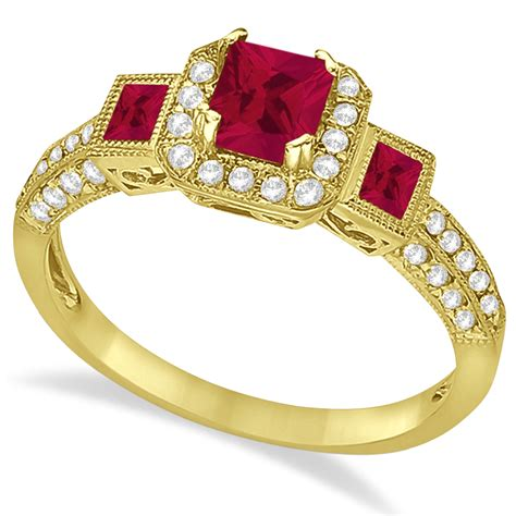 ruby engagement ring in 14k yellow gold 1 35ctw