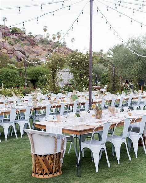 outdoor wedding reception decorations with string lights