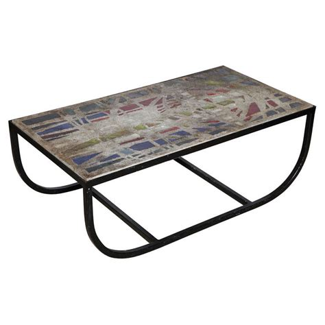 Stained Glass Coffee Table 1950 S Gabrial Loire Stained Glass Concrete And Iron