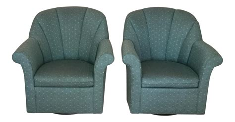 Upholstered Swivel Rocking Chairs A Pair Chairish Upholstered Swivel Rocking Chair