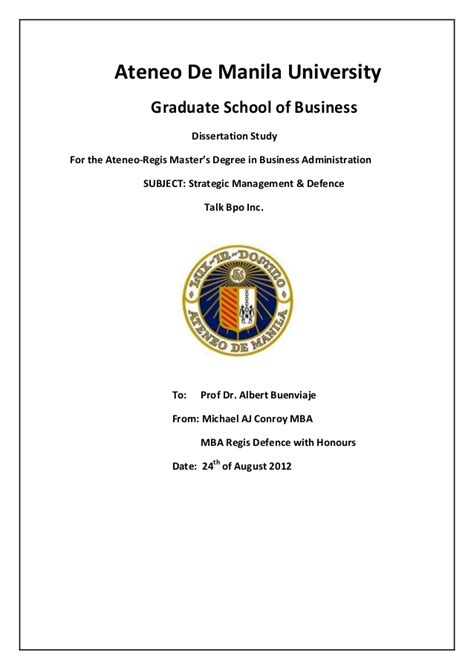 Ateneo Mba Student Log In by Ateneo Regis Mba Talk Bpo Strategies Slide Promo