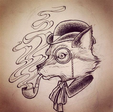 black and white mr fox a pipe design mr fox in monocle a pipe design