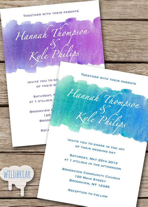 watercolor printable wedding invitation turquoise blue amethyst purple or request a custom
