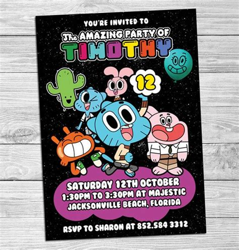 the amazing world of gumball card template the amazing world of gumball birthday invitations