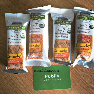 Publix Gift Card Balance - new cascadian farm crunchy granola bars from publix 25 gift card giveaway