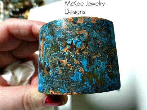 Blue Patina Wide Copper, Textured, Metal Cuff, Unisex, Jewelry, Copper Cuff Bracelet. on Luulla