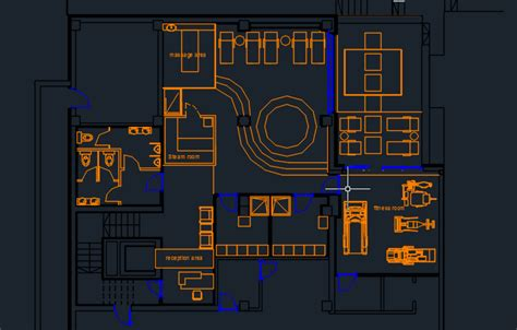 hair salon layout cad spa center with pool and furniture 2d dwg design plan for