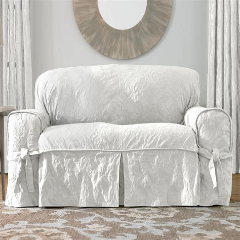 white slipcover for sofa sure fit slipcovers matelass 233 damask 1 piece sofa