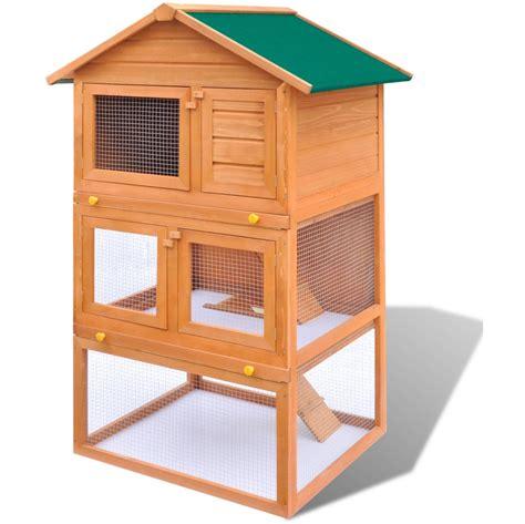 Cage à Lapins Clapier En Bois Rongeur Modèle Amélioré 03