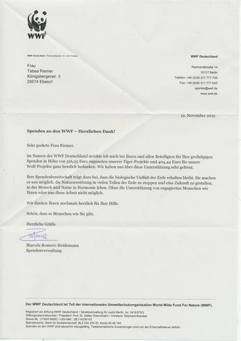 wwf charity letter naturama projekt 2018
