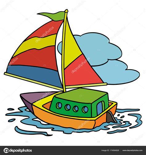 barco navegando animado vectorillustratie van cartoon boot kleur op de witte