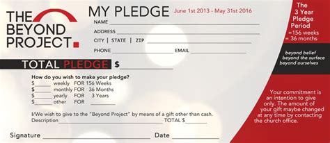 church pledge form template hausnuc capital campaign church fundraisers card templates