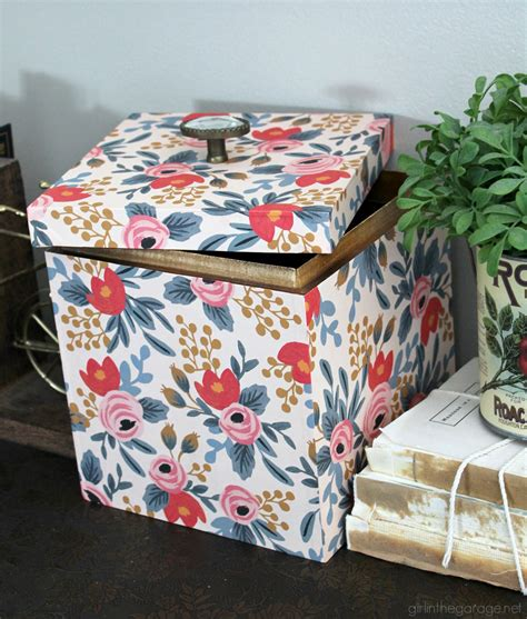 Decoupage With Wrapping Paper - wood box makeover with wrapping paper in the garage 174